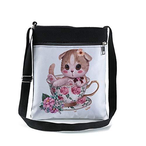 Lianaiz Weibliche Tasche Farbe Malerei Design Leinwand Umhängetasche Weiblichen Doppel Reißverschluss Messenger Bag Weibliche Mode Flip Kleine Umhängetasche D -