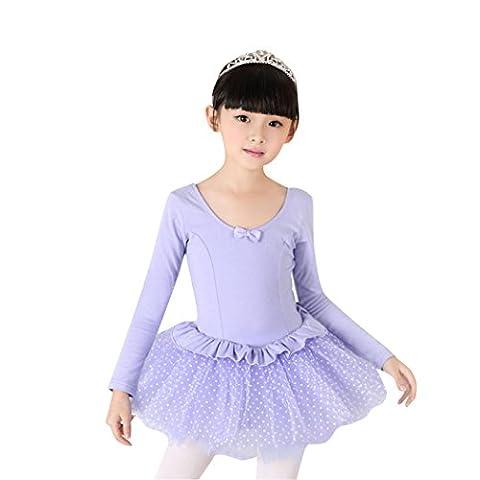 Geschenk-Idee! VENI MASEE Pure Purple WavePoints Langarm Ballett Tutu-Kleid, Größe 4-8 Mädchen - 8