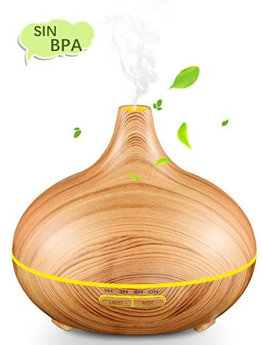 Mpow Humidificador Ultrasónico Aromaterapia 300ml, Humidificador Bebé Sin Ruido, 7 Color LED con Función Auto-Apagar, Seguro y Saludable para Bebes, Hogar, Oficinas