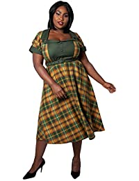 VOODOO VIXEN Womens Ella Tartan Flared Plus Size Dress Curve Ladies Plus  Size Midi Dress A 383e7c8d4