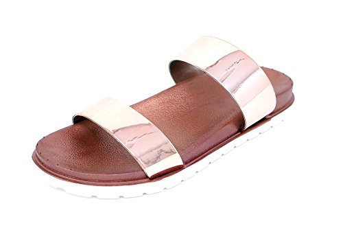 Damen Schuhe bequeme Sandalen Dianetten Loafers SlipOn Flats Metallic 8210 (39, golden-rose)
