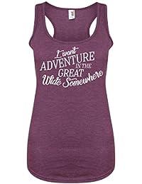 I Want Adventure In The Great Wide Somewhere - Purple - Women's Racerback Vest - Fun Slogan Tank Top (X Large - UK Size 14-16, w/White)