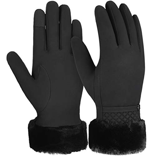 guanti neri donna VBIGER guanti invernali caldi Touch Screen Guanti guanti addensati per tempo freddo Guanti sportivi per esterno casual per donna
