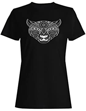 Mano dibujada lobo fondo camiseta de las mujeres g587f