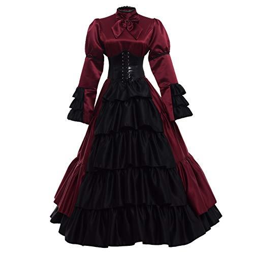 GRACEART Frauen mittelalterlichen viktorianischen Kostüm Vintage Rüschen Fancy Dress mit Krinoline und Gürtel (Weinrot, Medium)