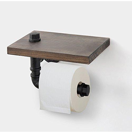Chrom Doppel-bücherregal (ZH Wandmontierter Toilettenpapierhalterständer Holz + Metallrohr-Handtuchhalter, Bücherregal, Multifunktionswandregal, Industrieller Retro-Stil, 25 × 18 × 13 cm)