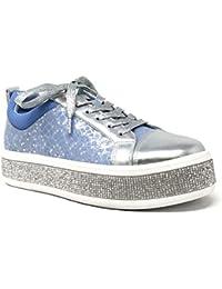 Angkorly - Scarpe Moda Sneaker Bowling Zeppe Street Donna Strass Fiori Lucide  Tacco Zeppa Piattaforma 4 3c50a491bfe