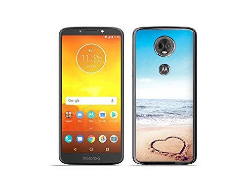 etuo Motorola Moto E5 Plus - Hülle Foto Case - Herz auf Sand - Handyhülle Schutzhülle Etui Case Cover Tasche für Handy