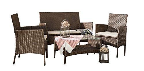 ITALFROM Salon de Jardin Set Corfu Marron 2 fauteuils Table avec Verre trempé canapé 2 Places