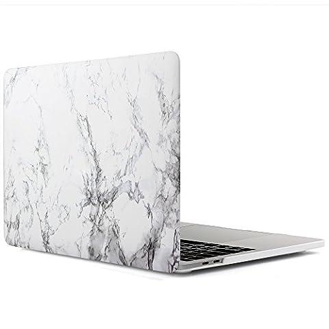 iDOO MacBook Schutzhülle / Hard Case Cover Laptop Hülle [Für 2016 MacBook Pro 13 Zoll mit Retina Display, mit/ohne Touch Bar und Touch ID: A1706 und A1708] - matt, Weißer Marmor