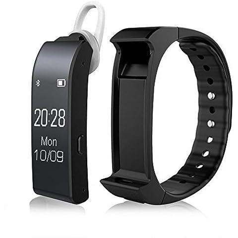 Lendoo V6Voice Smart Activity Tracker Bluetooth 4.0Smart Orologio–Bracciale sonno Salute Monitor contapassi Fitness Tracker con auricolari musica controllo per smartphone Android IOS iPhone 6sumsung,