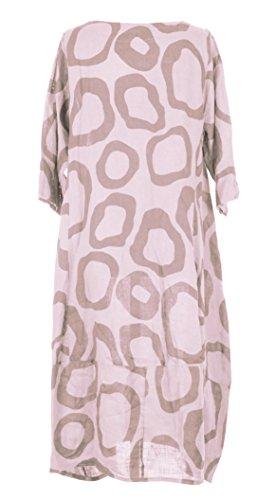 Mesdames Womens Lagenlook italienne manches courtes excentrique Résumé cercle imprimer 2 Side Pocket robe longue lin One Size UK 12-16 rose clair