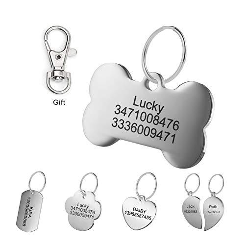 LYL Etiquetas de identificación de Mascotas de Acero Inoxidable Etiquetas de Perro...