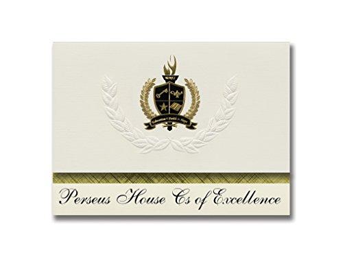 Signature-Announcements Perseus House Cs of Excellence (Erie, PA) Abschlussankündigungen, Präsidential-Stil, Grundpaket mit 25 goldfarbenen und schwarzen metallischen Folienversiegelungen