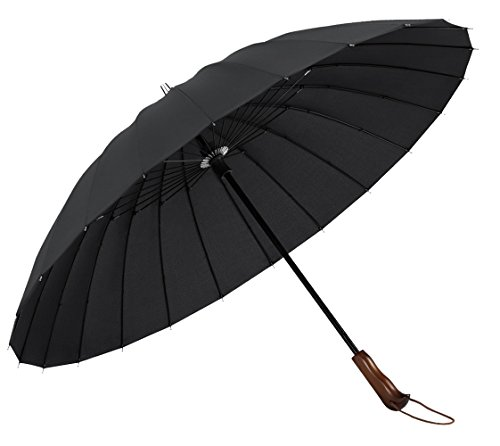 Plemo Umbrella with 24 Ribs, Durable and Strong for Optimal Resistance to Wind and Rain, antiskid wooden handle, Black