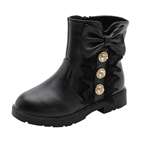 Cuteelf Kinderschuhe Baby Prinzessin Bogen Schuhe Mode Stiefel Herbst und Winter Neue koreanische Version der großen Kinder Plus Samt rutschig Mädchen Schneeschuhe Mädchen Stiefel