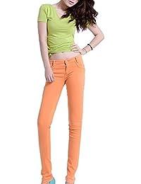 Runyue Mujer Vaqueros Skinny Push-Up Cintura Alta Delgado Flaco Pantalones  Lápiz Ocio Estilo Elástico 68291453bc93