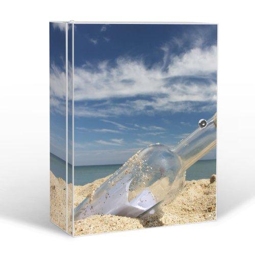 BANJADO Medizinschrank groß abschließbar / Arzneischrank 35x46x15cm / Medikamentenschrank aus Metall weiß mit Motiv Flaschenpost