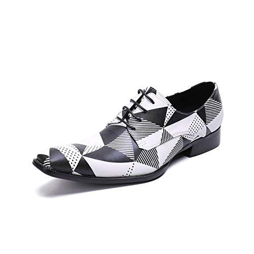 ANTAZ Kleiden Sie die Spitzen Oxford-Geschäftsschuhe der Männer, die Spitze Leder schwarz und weiß Retro Hochzeit Smart Party Rutschfeste atmungsaktive tragbare Größe,Black,38