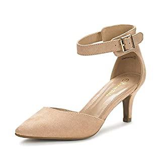 Dream Pairs Women's Lowpointed Nude Suede Low Heel Dress Pump Shoes Size 9.5 US/ 7.5 UK