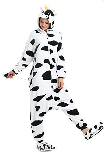 UMIPUBO Pigiama Cosplay Anime Halloween Costume Animale Costume Tutina Costume Camicie da Notte(Scarpe non incluse) (XL (H:177-185cm), Mucca)