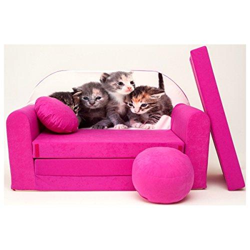 Barabike H6 + Un bébé pour Enfants Mini Canapé bébé Canapé lit Pouf Lot de 3 en 1 d'oreillers en Mousse