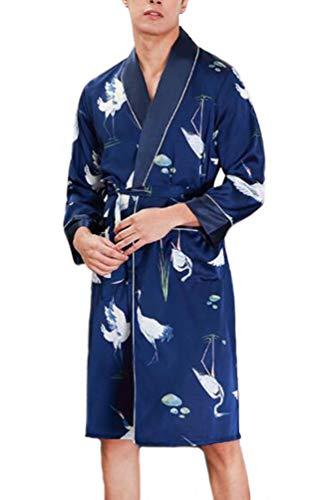 Hombre Batas Kimono Satín La Rodilla Túnicas V-Cuello Albornoz Animal Print Cómodo Aireado Pijama...