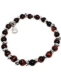 Cloto summer vibes Red Saturday bracciale con pietre occhio di tigre rosso 6mm e charm in argento 925 My Silver