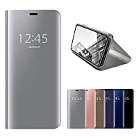 HMOON Mirror Case for Huawei Mate 10 Lite Silver, Premium PU Leather Flip Case + Hard PC Back Cover Luxury Clear View Design Protective Shell with Stand Function for Huawei Mate 10 Lite