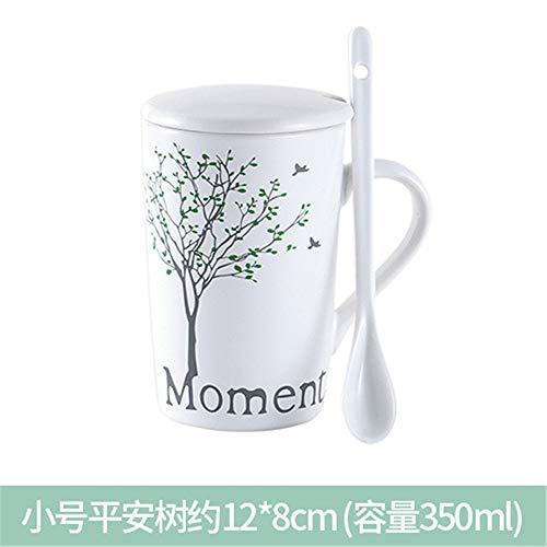 Hengrui tazza di ceramica con coperchio cucchiaio tazza piccola tazza di latte fresco grande capacità tazza di farina d'avena tazza di colazione tromba albero tranquillo
