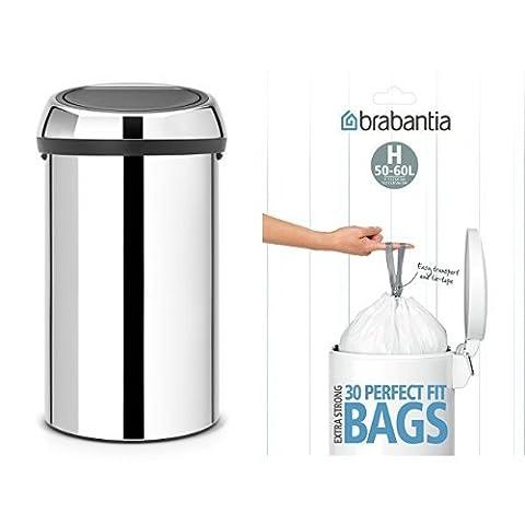 Brabantia Touch Bin with Bin Liners, 60 L - Brilliant Steel