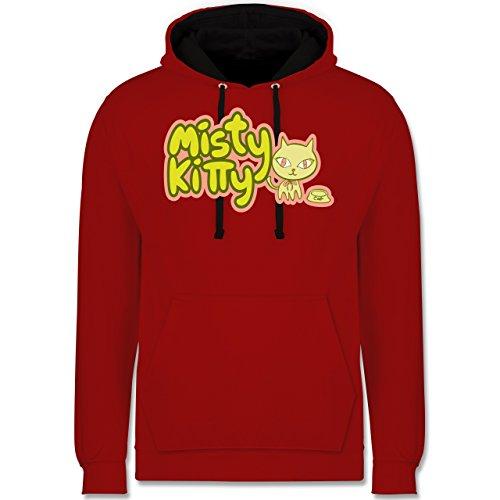 Katzen - Misty Kitty - Kontrast Hoodie Rot/Schwarz