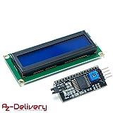 AZDelivery ⭐⭐⭐⭐⭐ HD44780 1602 LCD Modul Display Bundle mit I2C Schnittstelle 2x16 Zeichen mit gratis eBook! (mit blauem Hintergrund)