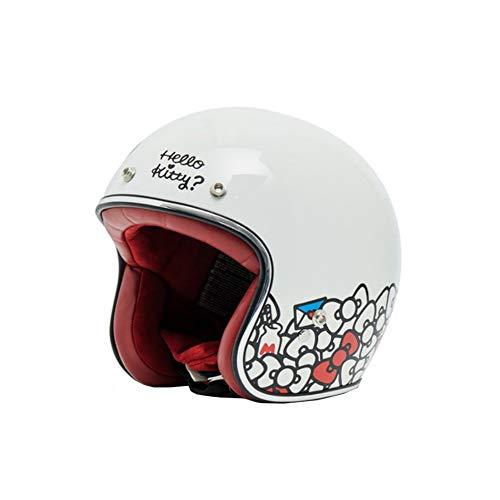 GWM Casco de motocicleta, casco retro Harley lindo para hombres y mujeres, casco retro del coche eléctrico de padres e hijos de los niños, caricatura adorable femenino transpirable agradable para la p