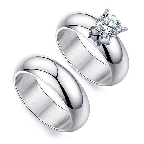 repreis Edelstahl Ringe für Paare Rund Zirkonia Breit 6 MM Verlobungsring Paarringe Hochzeit Silber Damen Gr.54 (17.2) + Herren Gr.60 (19.1) ()