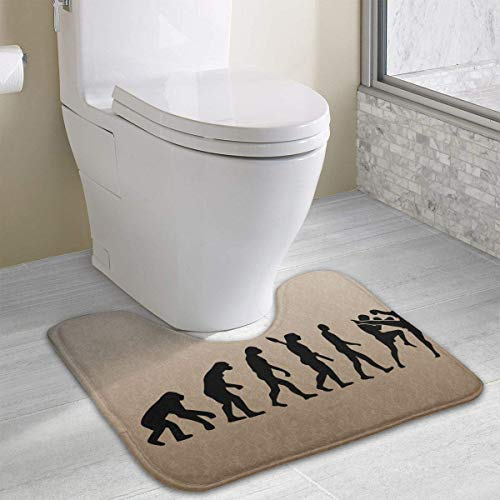 Hoklcvd Muay Thai Fighter Evolution U-förmige Toilette Bodenteppich Rutschfeste Toilette Teppiche Duschmatte -