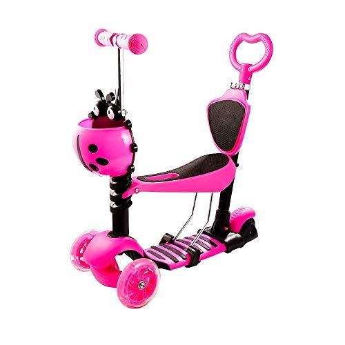 Roller für Kleinkinder Kinder mit Sitz verstellbar Abnehmbarer tragbarer Kinderroller |5-in-1 Mini Tretroller mit 3 Rädern und LED-Leuchtenrädern |Geschenk für Jungen Mädchen 1 bis 6 Jahre alt, Pink