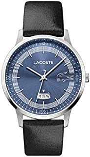 Lacoste Black Mens Quartz Watch, Analog Display and Leather Strap 2011034