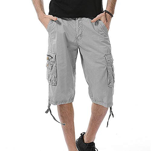 Aiserkly Herren Cargo Shorts Kurze Pure Color Arbeitshose mit Taschen Outdoorhose Freizeithose Loom Kinder-zip