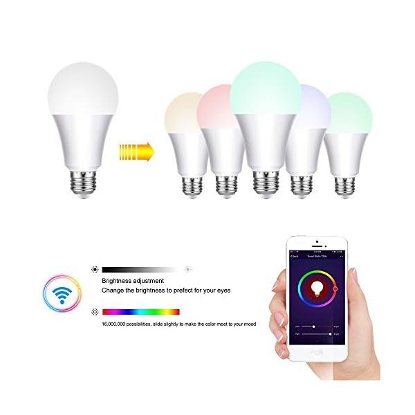 WiFi Bulb Intelligente Bunte LED-Lampe Dimmbare 650 Lumen ...
