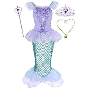 AmzBarley Meerjungfrau Kostüm Kleid Kinder Mädchen Kostüme Prinzessin Kleider Karneval Halloween Cosplay Kleid Geburtstag Party Ankleiden,Violett+008,7-8 Jahre,130