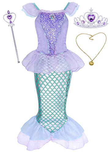 AmzBarley Meerjungfrau Kostüm Kleid Kinder Mädchen Ariel Kostüme Prinzessin Kleider Abendkleid Halloween Cosplay Verrücktes Kleid Geburtstag Party Ankleiden, Lila mit Dekorationen, 3-4 Jahre