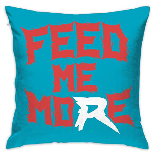 Egesgegts Modern Pillow Feed Me More Logo Decoration Modern Pillowcase for 17.7X17.7 In