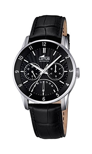 Lotus Men's Quartz Watch with Black Dial Analogue Display and Black Leather Strap 18216/4