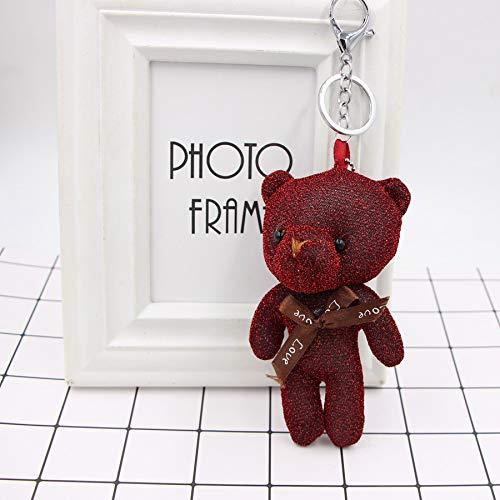 Honta giocattolo per bambini giocattolo di san valentino simpatico orsetto pendente portachiavi borsa a mano auto fascino portachiavi accessori regalo (colore : wine red, dimensione : 13x5cm)