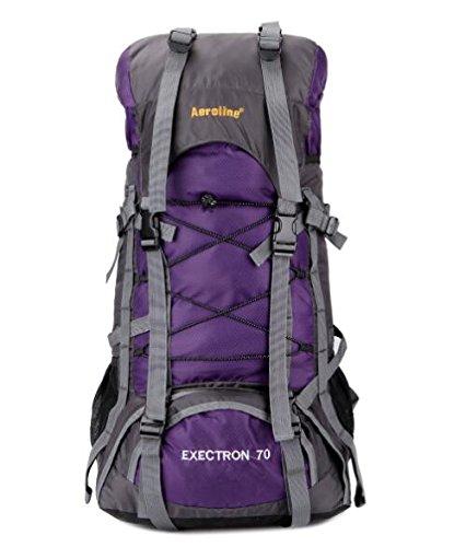 tomill 60L Rucksack Nylon Outdoor Sport Camping Bergsteigen Tasche Wandern Rucksack Große Kapazität für Reisen Violett