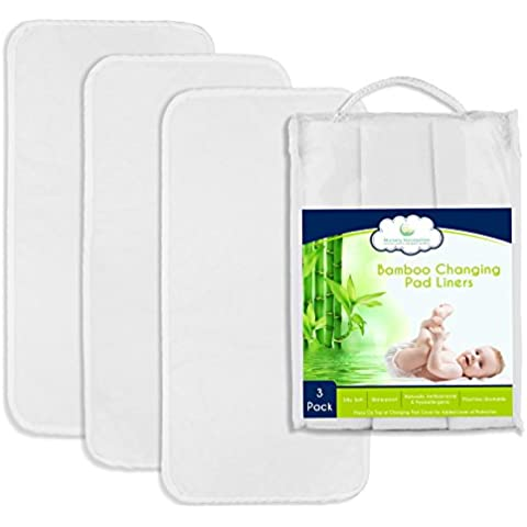 Nursery Necessities bambù 67,3x 33cm per fasciatoio, confezione da 3, impermeabile, antibatterico, ipoallergenico, lavabile in lavatrice e asciugare