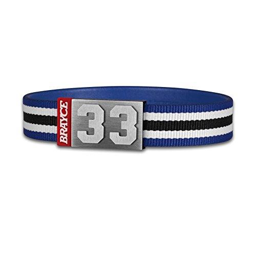BRAYCE® Trikot am Handgelenk® mit Deiner Nummer 00-99 I Armband schwarz, weiß & blau
