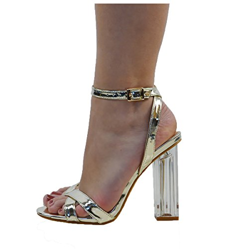 ESSEX GLAM Scarpa Donna Oro Metallizzato Sandalo Peep Toe Tacco