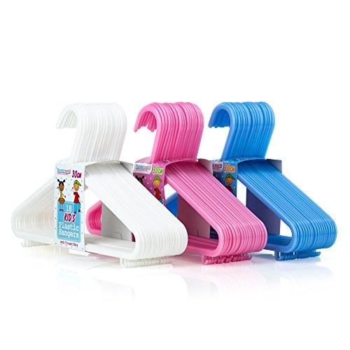 Hangerworld- Juego de 54 Perchas de Plástico para Ropa Infantil y Juvenil. 30cm aprox